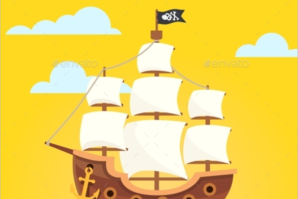 Black Scull Flag Pirate Ship Vector