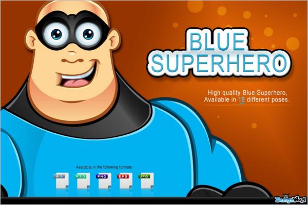 Blue Superhero Cartoon Design