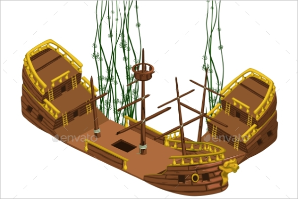 Broken Pirate Ship Vector Design
