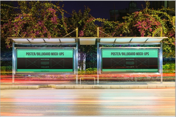 Bus Stop Posters Mockup Free Psd