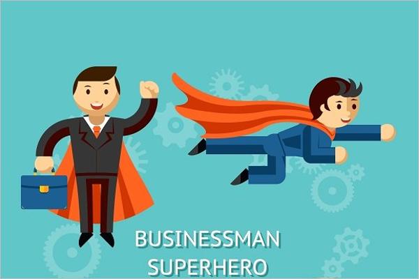 Business Superheroe Cartoon Template