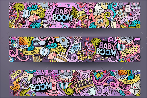 Cartoon Baby Banner Template