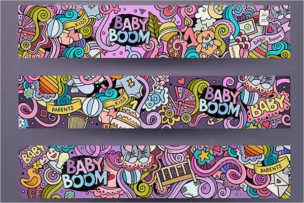 Cartoon Baby Banner Template