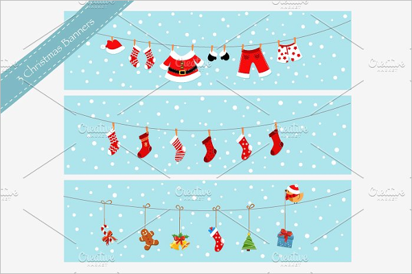 Cartoon Christmas Banner Template
