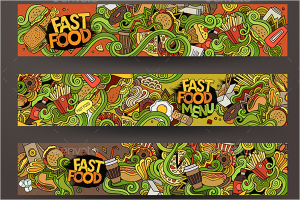 Cartoon Food Banner Template