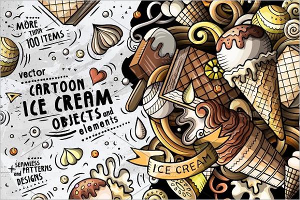 Cartoon Ice Cream Post Card Template