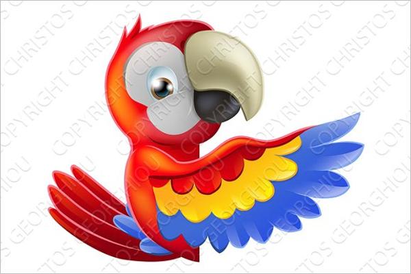 Cartoon Parrot Photo Template
