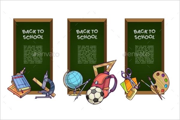 Cartoon School Banner Template