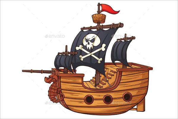 Cartoon Ship Vector Art