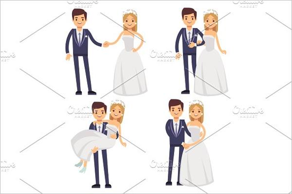 Cartoon Wedding Couple Photo Template