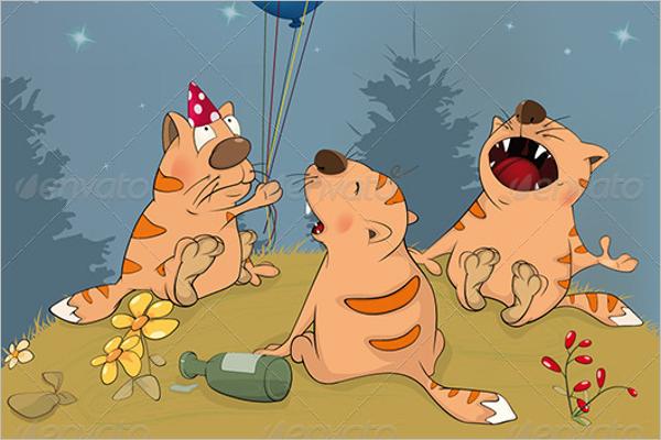 Cats Celebrates Birthday Party Design