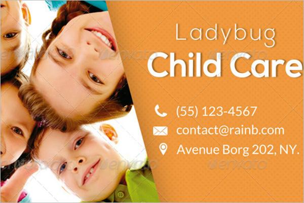 Child Care Business Card PSD