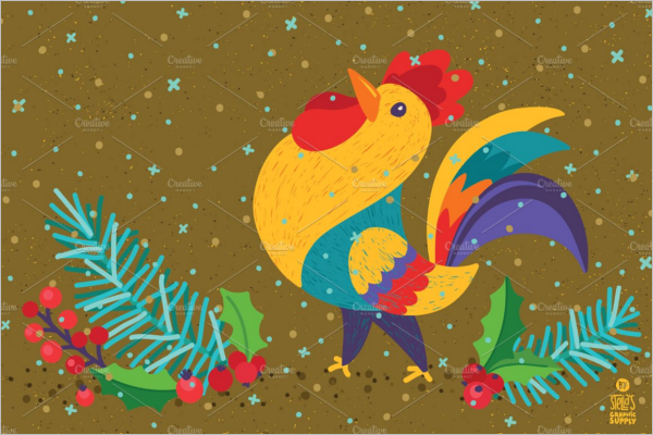 Christmas Illustrations Rooster Design