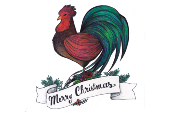 Christmas Rooster Vector Design