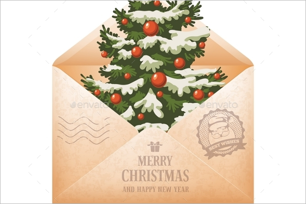 Christmas Vintage Envelope Template