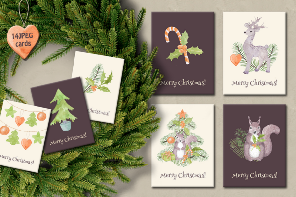 Christmas Watercolor Collection Template