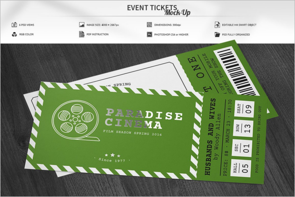 Cinema Ticket Mockup Design