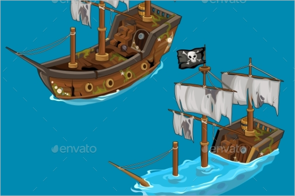Classic Pirate Ship Vector Design