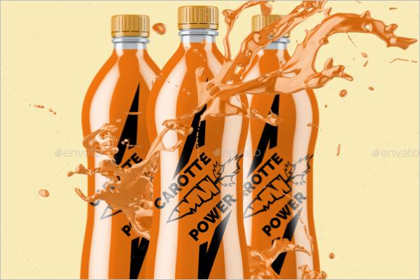 Clear Plastic Bottle Mockup Shape