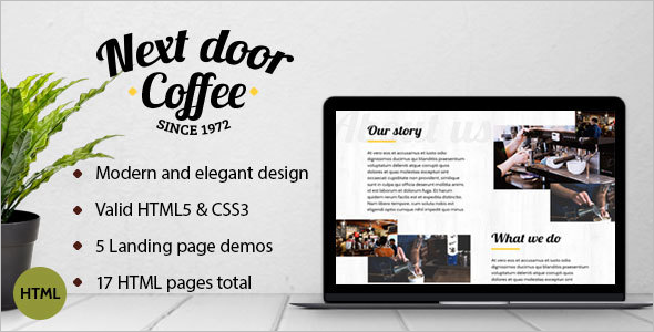 Coffee Shop Landing Page Theme