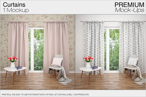 Colorful Curtain Mockup Template