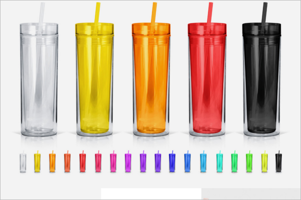 Colorful Plastic Bottle Mockup