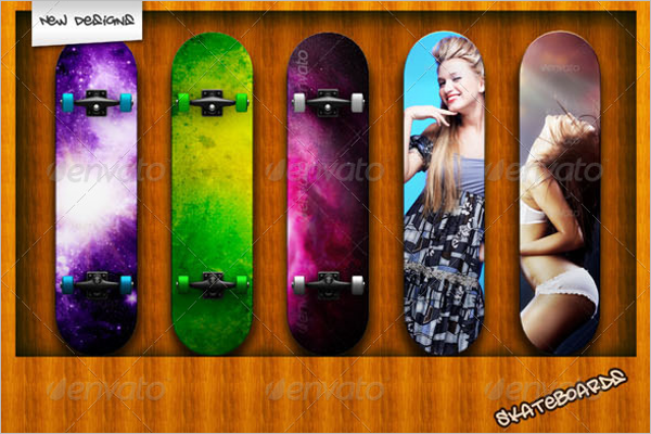 Colourful Skateboard Mockup Design
