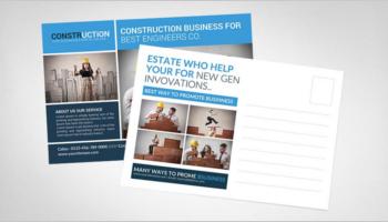 Construction Business Postcard Templates