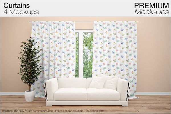 Curtain Mockup Vector Template