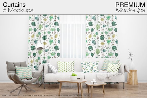 Curtain Photoshop Mockup Template