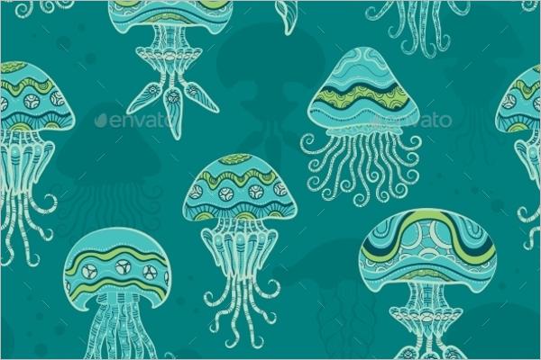 Decorative Jellyfish Tropical Pattern