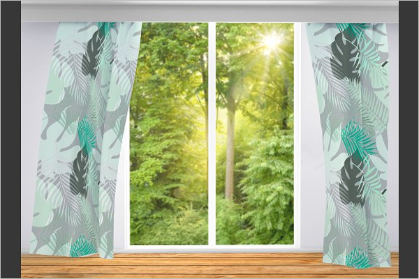 Editable Curtain Mockup Template