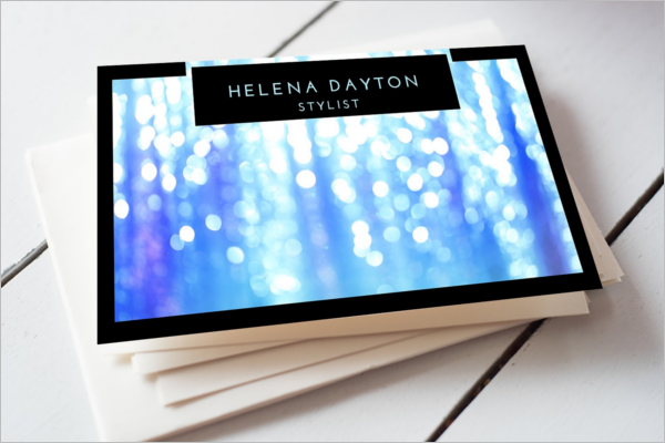 Electric Blue Glitter Business Card Design.