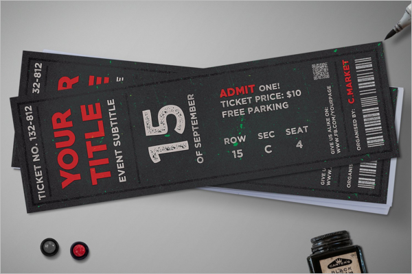 Elegant Ticket Mockup Design