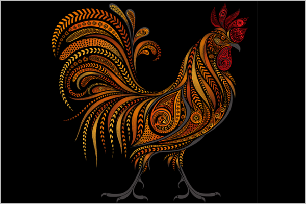 Festive Christmas Rooster Template