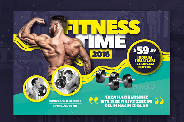 Fitness Time Postcard Template