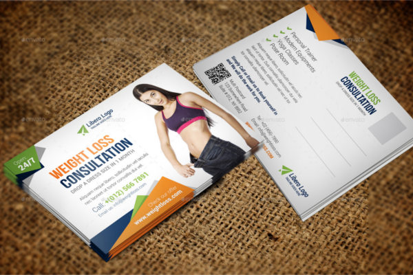 Fitness Weight Loss Postcard Template