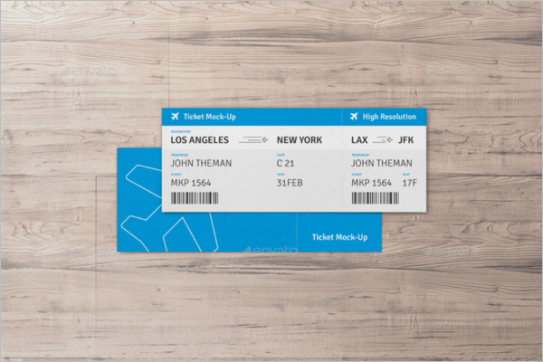 Flight Ticket Mockup Design
