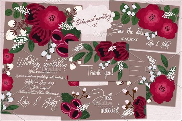 Flower Wedding Postcard Design