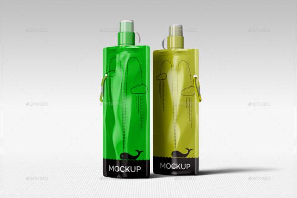 Foldable Plastic Water Bottle Mockup