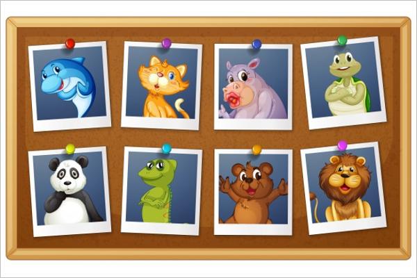 Free Cartoon Animals Photo Template