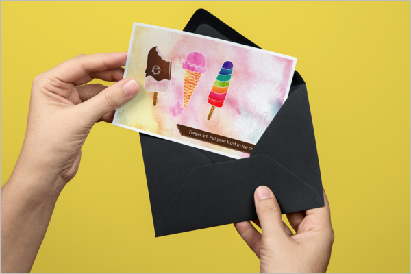 Free Ice Cream Post Card Template