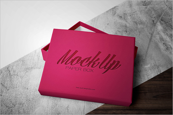 Free Paper Gift Box Mockup Template