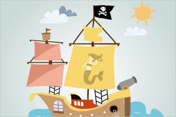 Free Vector Pirate Ship Sailing Design