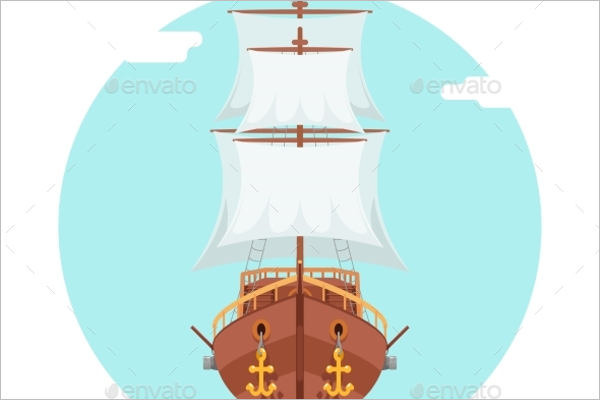 Front View Wooden Pirate Ship Vector