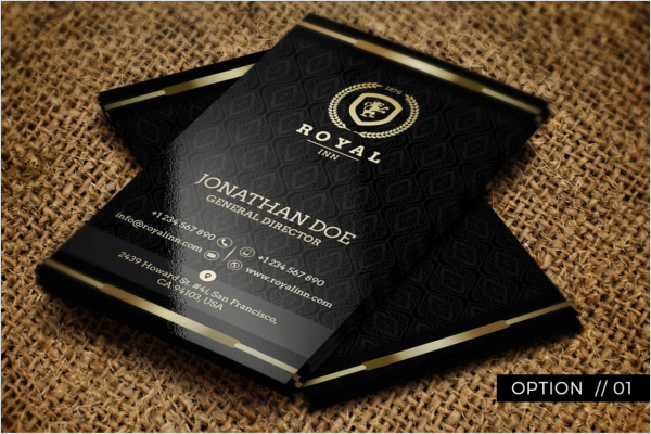 Gold And Black Hotel Business Cards