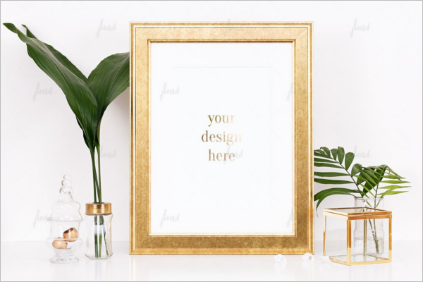 Golden Photo Display Mockup