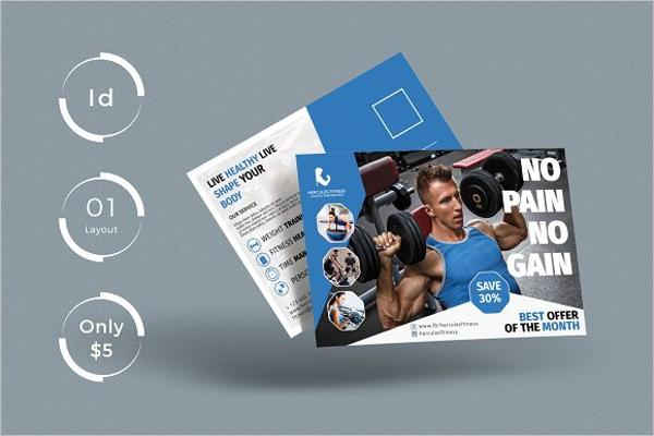 Gym Construction Business Postcard Design