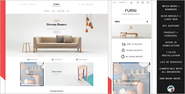Home Furniture Store Prestashop Theme