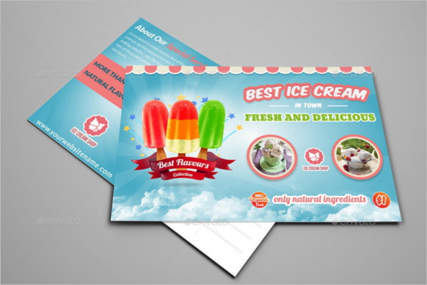Ice Cream Shop Post Card Template
